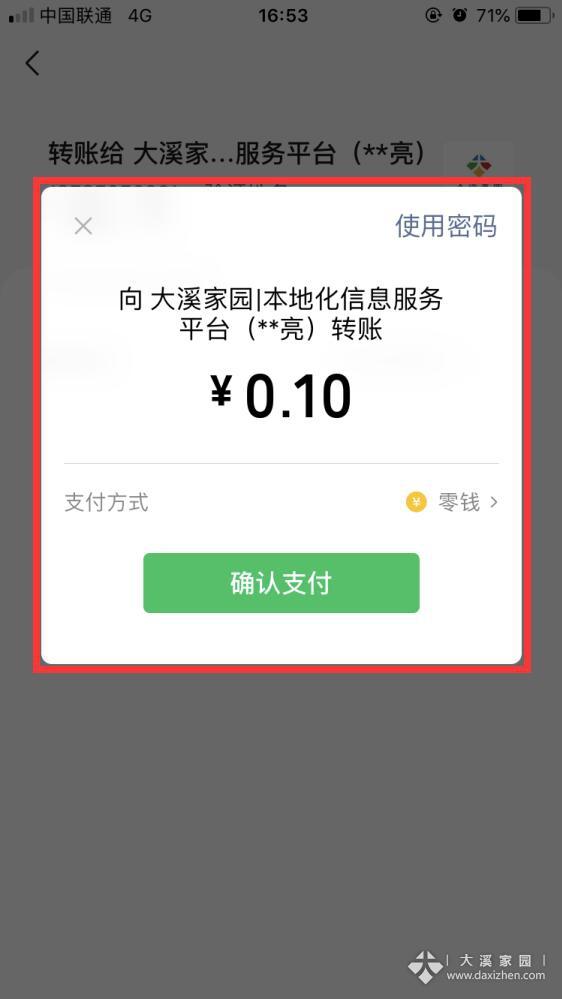 输入密码确认支付
